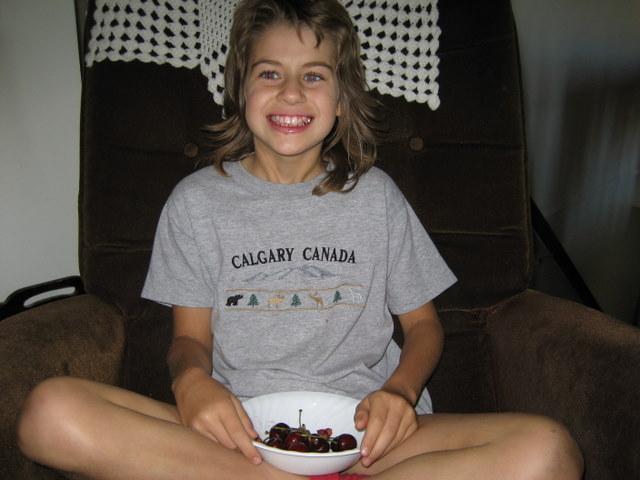 Sarah eating cherries